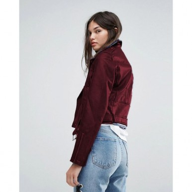 Moncler Highstreet style Maroon Faux Leather Jacket For Women