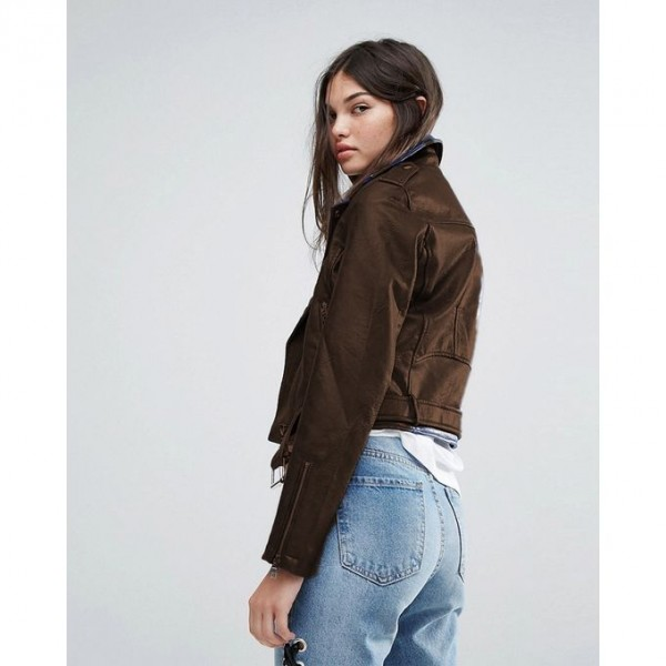 Moncler Highstreet style  Brown Faux Leather Jacket For Women