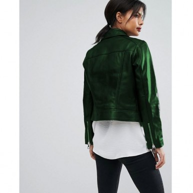 Moncler Highstreet style Green Faux Leather Jacket For Women