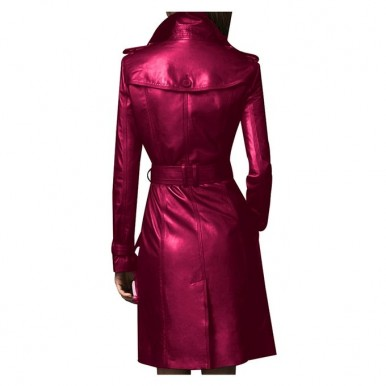 Moncler Maroon Leather Long coat For Women