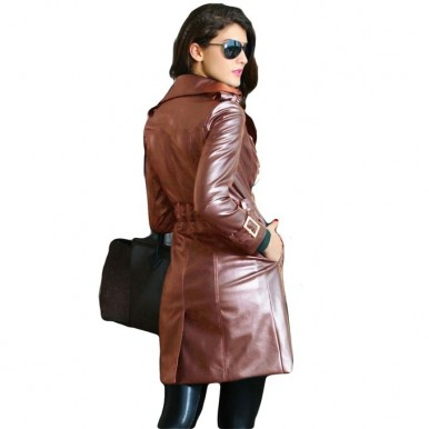 Moncler Skin Leather Long Coat For Women