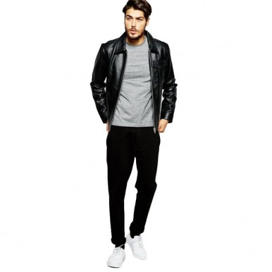 Leather Jacket for Men by Moncler in Black Faux