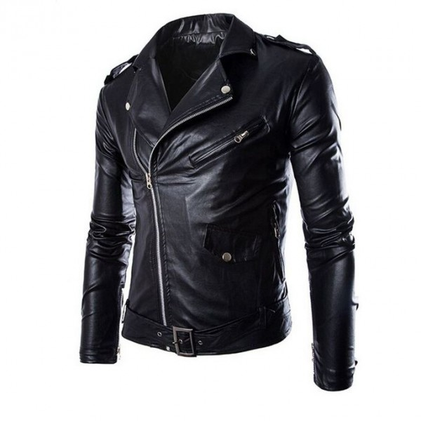 Moncler Black Leather Jacket For Men
