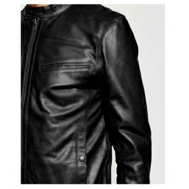 High Street Faux Leather Jacket in Black for Men