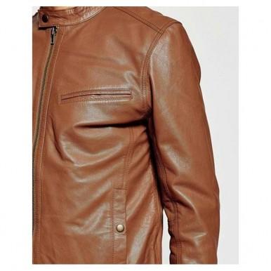 Moncler Mustard Faux Leather High Street Jacket for Men-mustard