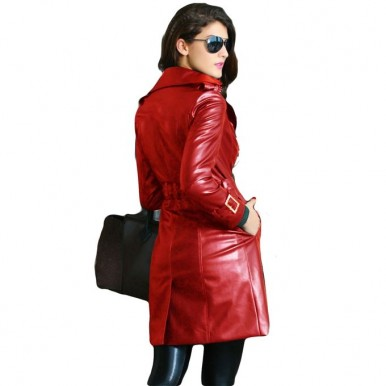 Moncler Orange Leather Long Coat For Women