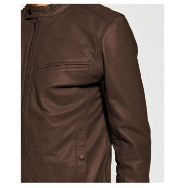 Moncler Brown Faux Leather High Street Jacket for Men-brown