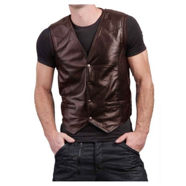 Stylish Brown Leather Waist Coat For Men