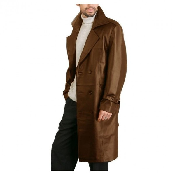 Moncler Mustard Leather Long Coat For Men