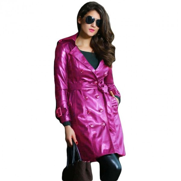 Moncler Pink Leather Long Coat For Women