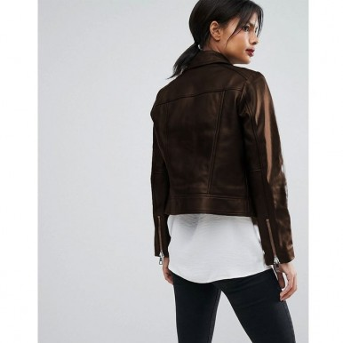 Moncler Highstreet Brown style Faux Leather Jacket For Women