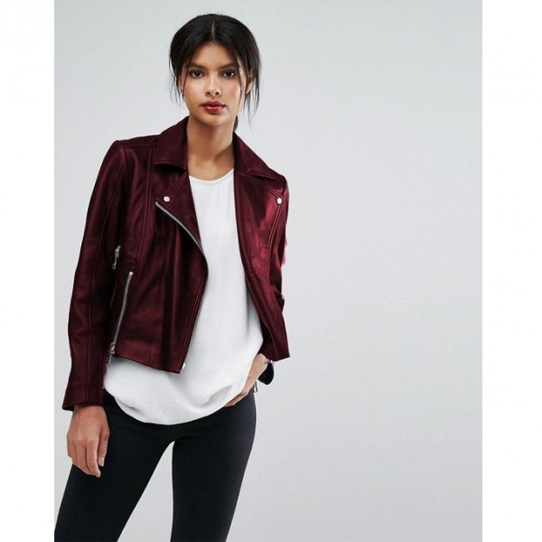 Moncler Highstreet Maroon style Faux Leather Jacket For Women