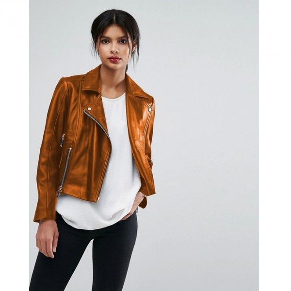 Moncler Highstreet Mustard style Faux Leather Jacket For Women