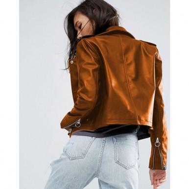 Moncler Highstreet Mustard Faux Leather Jacket For Women - WM9994