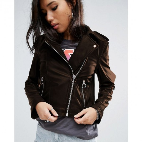 Moncler Highstreet Brown Faux Leather Jacket For Women - BW93