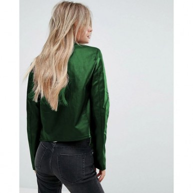 Moncler Highstreet Green Faux Leather Jacket For Women - WM989