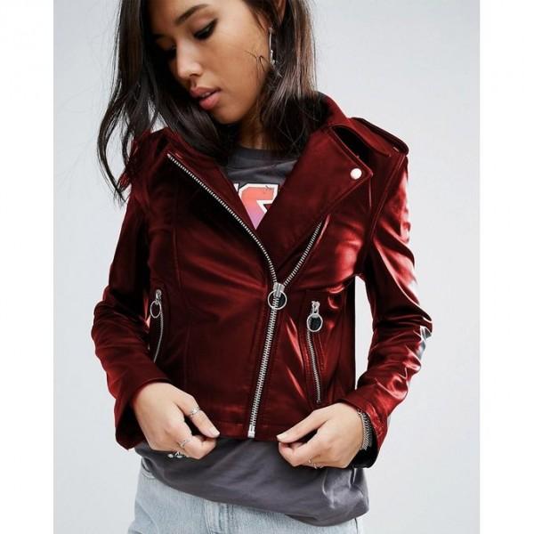 Moncler Highstreet maroon Faux Leather Jacket For Women - WM6587