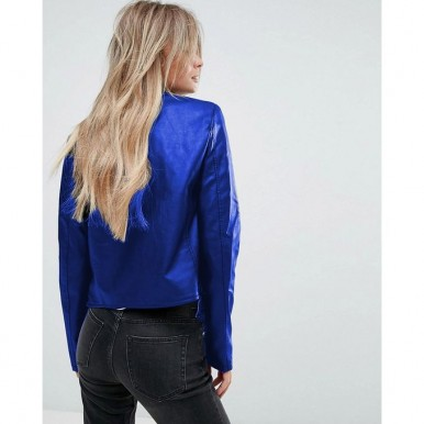 Moncler Highstreet Blue Faux Leather Jacket For Women in Electric Blue Colour