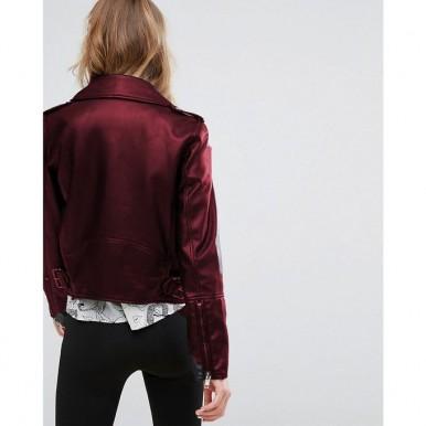 Moncler Highstreet Maroon Faux Leather Jacket For Women - WM768