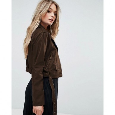 Exclusive Moncler Highstreet Brown Faux Leather Jacket For Women