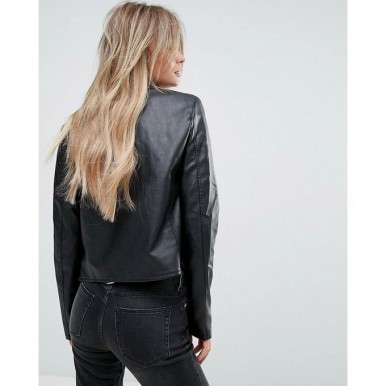Moncler Highstreet Black Faux Leather Jacket For Women - WB92