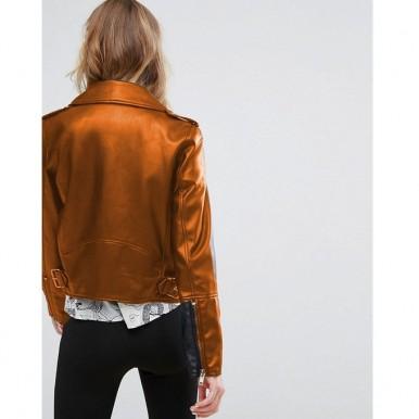 Moncler Highstreet Mustard Faux Leather Jacket For Women