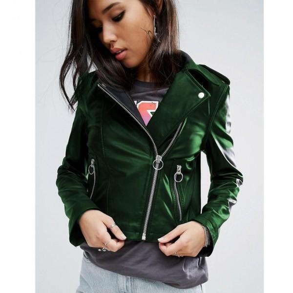 Moncler Highstreet greenFaux Leather Jacket For Women - WM89