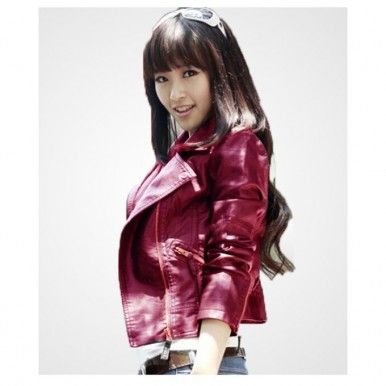 Moncler Maroon Leather Jacket For Women - WM93