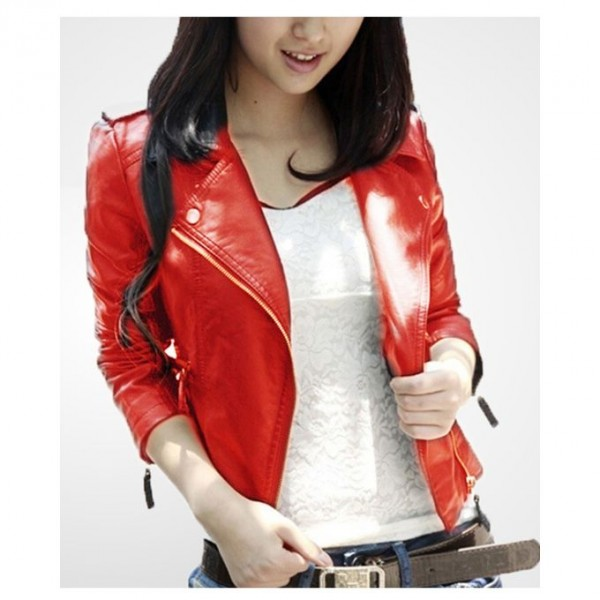 Moncler Orange Leather Jacket For Women