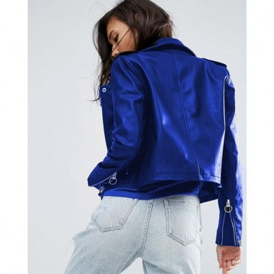 Electric Blue Moncler Highstreet Blue Faux Leather Jacket For Women