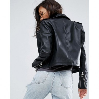 Moncler Highstreet Black Faux Leather Jacket Black For Women