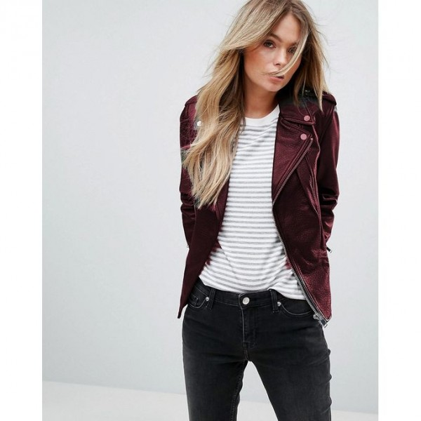 Moncler Highstreet Maroon Faux Leather Jacket For Women - MW544