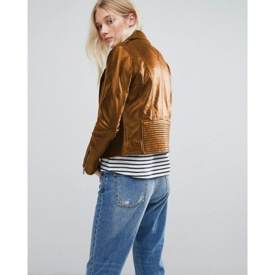 Moncler Highstreet Mustard Faux Leather Jacket For Women - WM83
