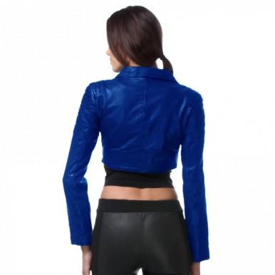 Highstreet Blue Faux Leather Jacket For Women.