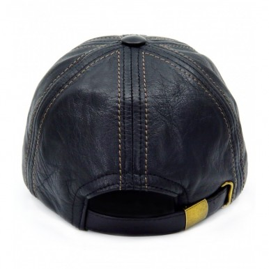 Real Sheepskin Black Leather Baseball Cap