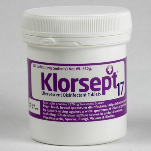 Klorsept 17 Chlorine Disinfection tablets for Bacteria/Virus and EPA approved Covid-19 – 200 Tablet tub