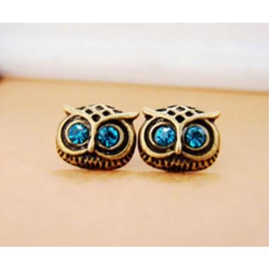 Vintage Crystal Owl Pendant and Earrings