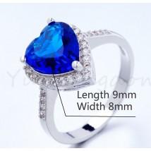 Blue Heart Diamond Style Platinum Ladies Ring