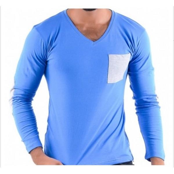 V-Neck Full Sleeves Blue
