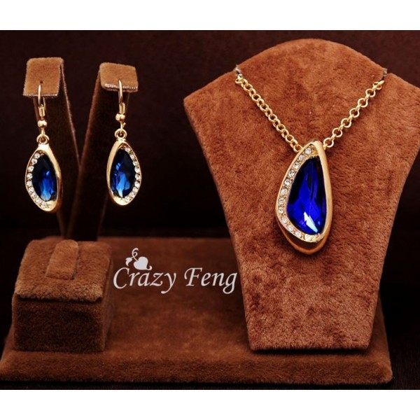 18k Yellow Gold Filled Blue Sapphire Jewelry Sets Necklace and Earrings