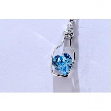 Love BottleBlue Heart Crystal Pendant For Her