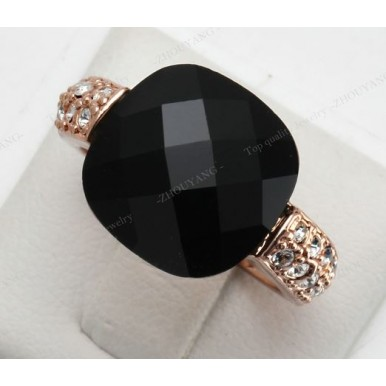 Black Acrylic Party Ring For Her