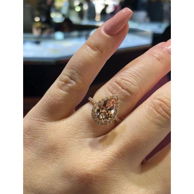 Champagne Rose Gold Crystal Ring