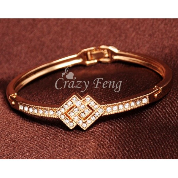Channel Style Diamond Gold Plated Bracelet for Her