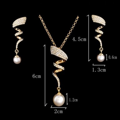 Curly Gold Plated Pearl Jewelry Set For Her