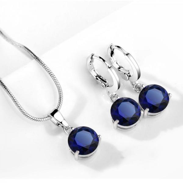 Cubic Silver Zircon Blue Pearl Jewelry Set