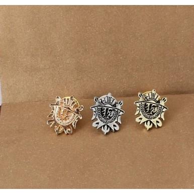 Crown Shield Brooch Shirt Pins Pair