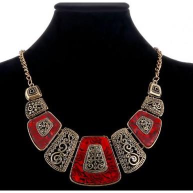 Enamel Geometric Retro Red Necklace