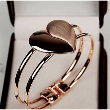 Lady Elegant Heart Clasp Bangle Bracelet