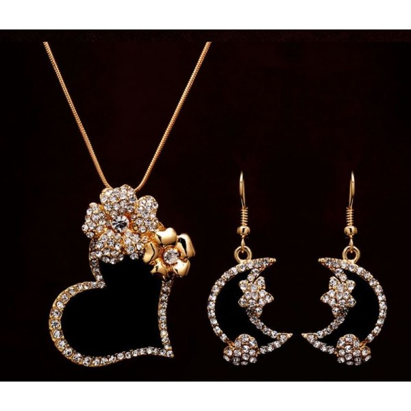 Gold Filled Austrian Crystal Enamel Heart Necklace and Earrings